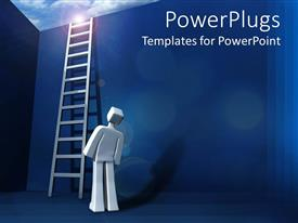 Beautiful PPT theme with man look up at ladder standing beside wall leading out of box