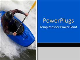 Slide deck featuring man paddling blue kayak through white water rapids