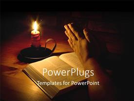 Slides featuring man praying next to bible with candle