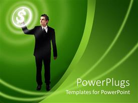 Presentation theme enhanced with man pressing button button on green background, business