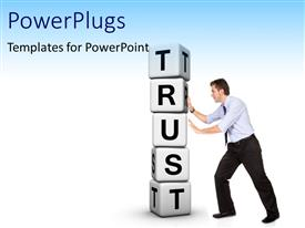 Audience pleasing slides featuring man pushing pile of white cubes with word TRUST
