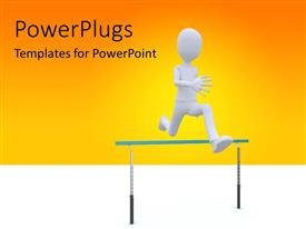 Colorful PPT layouts having man running over barrier depicting overcoming problems, orange color