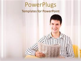 Beautiful slides with a man smiling while holding up a newspaper on a white background