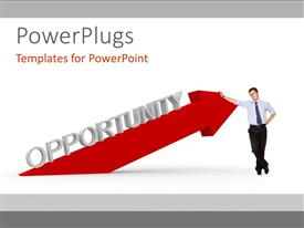 Theme consisting of man standing against red arrow of OPPORTUNITY over white background