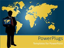 Audience pleasing PPT theme featuring man standing in front of map holds laptop showing world map