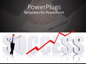 PPT layouts featuring man standing over 3D SUCCESS text with business men shaking hands