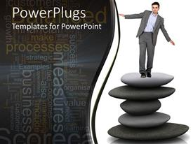 Audience pleasing slide set featuring man in suit balancing on pile of spa stones