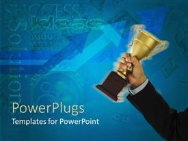 Amazing PPT theme consisting of man in suit holding trophy in bright blue background