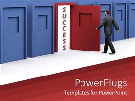 Beautiful PPT theme with man about to walk through red door of success in blue corridor