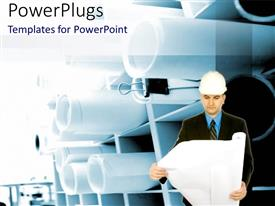Elegant PPT theme enhanced with a man wearing an engineers helmet, holding an open scroll