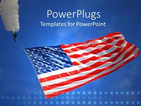 Colorful presentation design having man with a white parachute holding an American flag