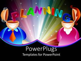 Presentation theme enhanced with man and woman with open head tops and colorful word planning stretching from man's head to woman's head
