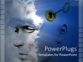 Presentation theme with man's profile against a blue sky with clouds and gold key unlocking his mind