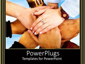 Presentation theme consisting of many hands placed together as a symbol of teamwork