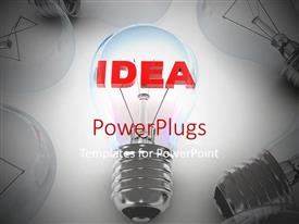 Elegant slides enhanced with a number of bulbs with the word idea
