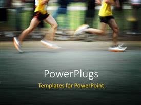 Colorful slide set having marathon runners concept with motion blur effect