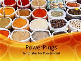 Colorful PPT theme having market with colorful powders, cereals and spices