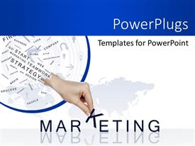 Audience pleasing presentation design featuring marketing depiction with related terms in background over world map