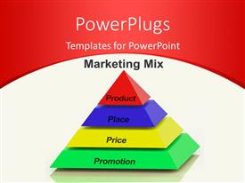 PPT theme with marketing Mix Pyramid With keywords such as Place, Price, Product, and Promotion