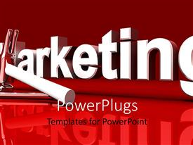 Amazing presentation design consisting of marketing word with hammer and wrench on red background