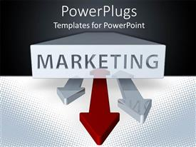 Colorful PPT theme having marketing word printed on a white block and three double sided arrows, two gray arrows and a red arrow on a black and white background