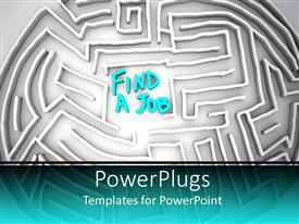 Elegant slides enhanced with a maze with a word find a job