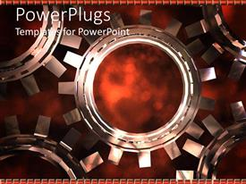 Amazing PPT theme consisting of mechanical gear made of five 3D connected cogs on dark background