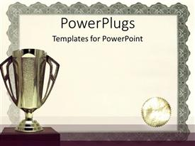 Colorful presentation theme having medals certificates awarding achievements and successful on neutral background