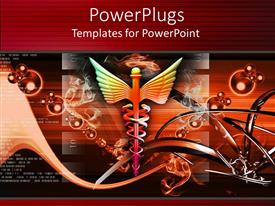 Amazing PPT layouts consisting of medical caduceus symbol with abstract background