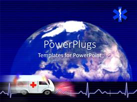 Colorful presentation having medical depiction with Cardiogram pulse and ambulance over globe