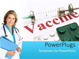 Vaccine powerpoint templates ppt themes with vaccine backgrounds ppt theme with medical doctor with notes and stethoscope poses beside drugs and vaccine template size toneelgroepblik Image collections