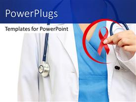Presentation theme enhanced with medical doctor with stethoscope around neck holding red ribbon