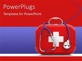 Amazing presentation theme consisting of medical first aid box with stethoscope on red and blue background