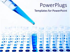 PPT theme consisting of medical science pipette and test tubes and blue fluid, chemistry, research, lab