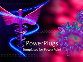 Presentation theme enhanced with medical symbol and virus over pink background