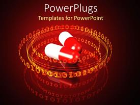 Beautiful PPT layouts with medical theme with two red and white capsules orbited by circles made of orange binary codes on glossy red background