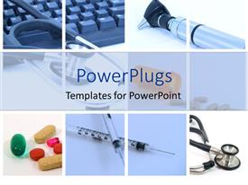 Beautiful PPT layouts with medical tools used in a hospital for health and vitality on a white background