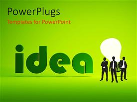 PPT layouts with men standing before lighted bulb depicting bright ideas over green background