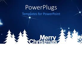 PPT theme having merry Christmas, snowflake on the blue background with sparkles
