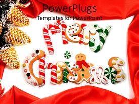 Presentation with merry Christmas written with candies  along with decorated background