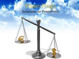 Presentation design consisting of metallic balance with a golden dollar and euro symbol