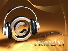 PPT theme enhanced with metallic circle with a copywrite symbol with headphones on it