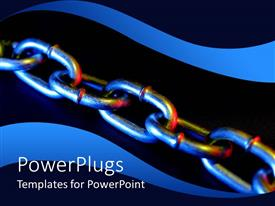 Amazing slide set consisting of metallic strong chain on a blue and black background