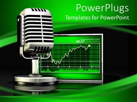 Presentation theme enhanced with a mic with stock market chart on the screen