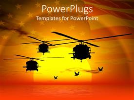 Audience pleasing presentation design featuring military helicopters flying over sea sunset sky and American flag i background