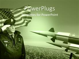 Elegant PPT theme enhanced with military officer salutes before the United States flag with three rockets