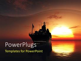 PPT theme consisting of military ship in the sea with sunset in the background