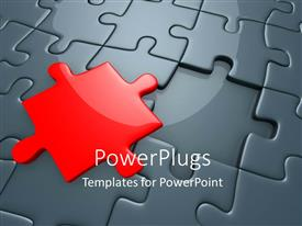 Elegant presentation theme enhanced with missing red piece of grey jigsaw puzzle with spotlight