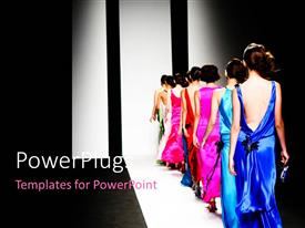 Amazing PPT layouts consisting of models on the catwalk during a fashion show with black color