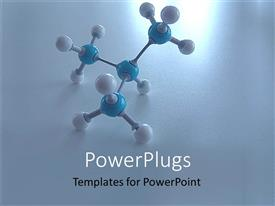 Presentation design featuring a molecule with blue and white colored nodes on a white background